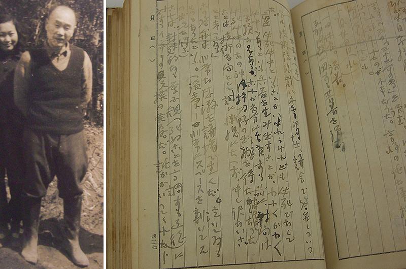 (左)清沢洌 (右)「暗黒日記」1945(昭和20)年1月25日の項。読売新聞が伝える議場の様子に日本人は期待できる、との意を書いた=長野県安曇野市所蔵