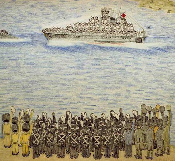 女学生の見送りに「帽ふれ」でこたえる大和乗員=1945(昭和20)年3月28日午後。戦後50年となる1955年、見送り女学生の一人、西迫マツ子さんが絵にした