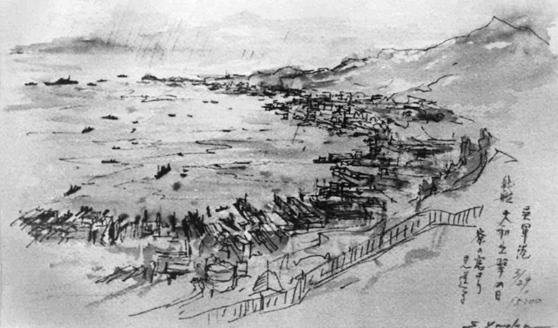 戦後50年を機に、矢岡荘介さんが学徒動員の呉で目撃した戦艦大和出撃を思い出して描いた絵。3月29日の日付があるが、正しくは3月28日=1995(平成7)年9月、呉市が開いた「絵で見る戦後50年の原点」展から